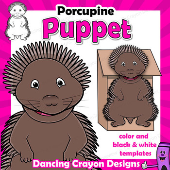 Porcupine Craft Activity | Paper Bag Puppet Template