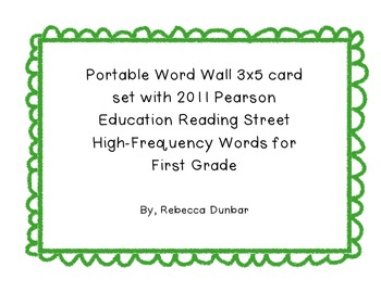 Portable Word Wall with Reading Street High-Frequency Word