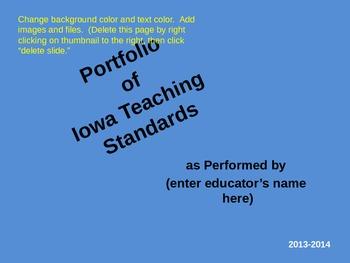 Portfolio Framework for Iowa Teaching Standards