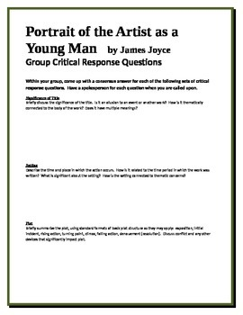 Portrait of the Artist as a Young Man - Joyce - Group Crit