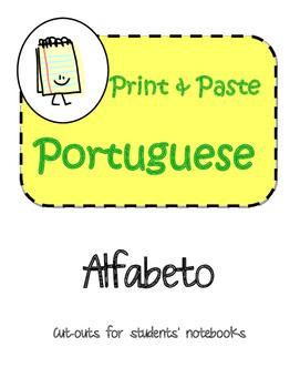 Portuguese Alfabeto Interactive Notebook Print and Paste