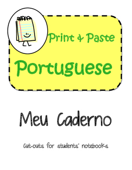 Portuguese Meu Caderno Interactive Notebook Print and Paste