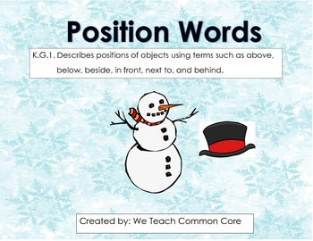 Position Words Snowman Winter Themed Daily 5 Word Work or