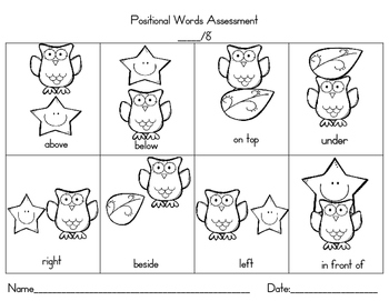 Positional Words Assessment Freebie