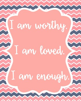 Positive Affirmation Poster Quote Classroom Decor Teachers