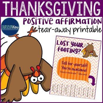 Positive Affirmations Tear Away - Thanksgiving - Elementar