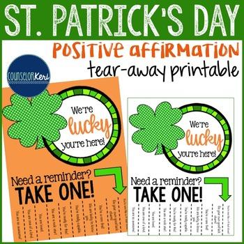 Positive Affirmations Tear Away Printable - St. Patricks D