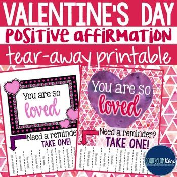 Positive Affirmation Tear Away Printable - Valentine's Day