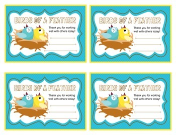 Positive Behavior Awards (Bird themed daily pep talks!)