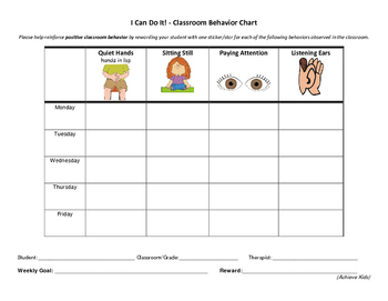 Positive Behavior Chart for the Classroom
