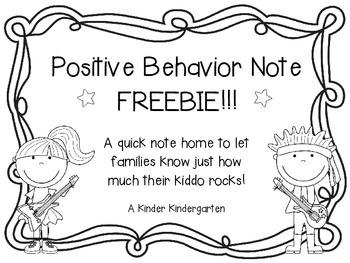 Positive Behavior Note