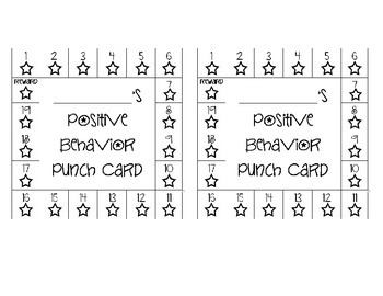 Positive Behavior Punch Card