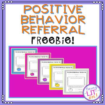 FREEBIE! Positive Behavior Referral