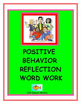 Behavior Management Reflection Word Work