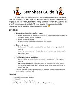 Positive Behavior Star Chart (Star Sheet)