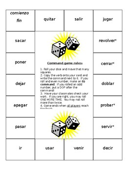 Positive Informal Commands Board Game- Spanish