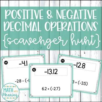 Positive & Negative Decimal Operations Scavenger Hunt - CC