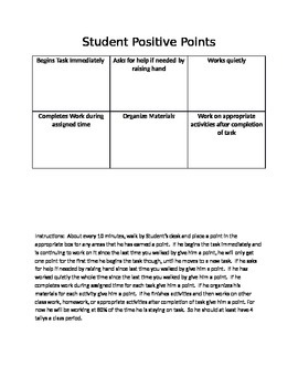 Positive Point System For Staying On Task