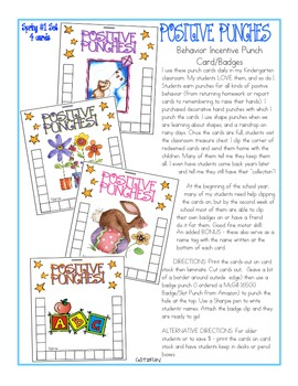 Positive Punches! Behavior Incentive Punch Card/Badge