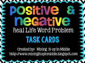 Positive and Negative Integer Word Problem Task Cards