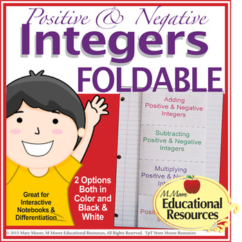 Positive and Negative Integers - FOLDABLE for Interactive