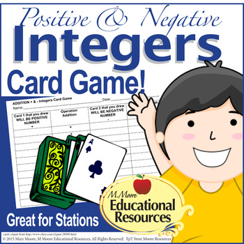 Positive and Negative Integers - Fun Card Game for Math St