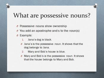 Possessive Noun & Contraction PowerPoint for Common Core S