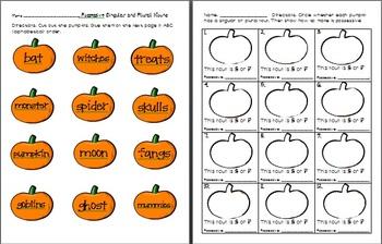 Possessive Nouns Halloween Pumpkins