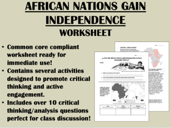 African Nations Gain Independence worksheet - Global/World