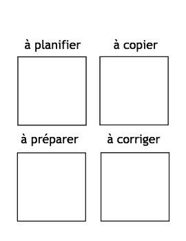 Post-It Note Planning Page en francais- Plan, copy, prep,