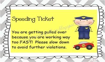 Post-It Speeding Tickets!
