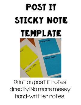 Post It Sticky Note Printable Template