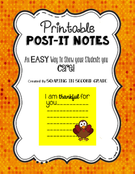Post-It Sticky Note Thankful For You FREEBIE!
