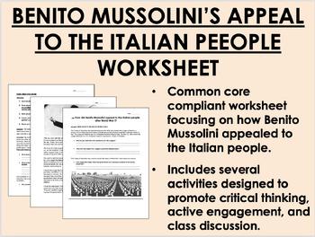 Post World War I Problems & Mussolini worksheet - Global H