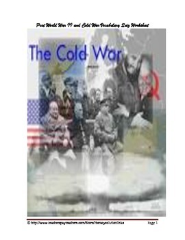 Post World War II and Cold War Vocabulary Quiz Worksheet