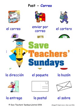 Post in Spanish Worksheets, Games, Activities and Flash Cards