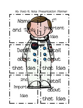 Post it Note Presentation/Writing Planner Astronaut Edition