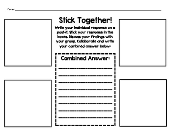 Post-it Note Stick Together Small Group Activity Graphic O