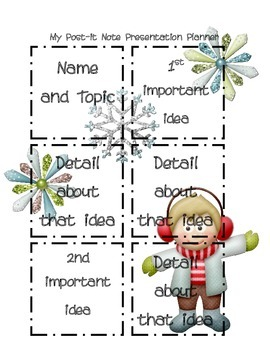 Post it Note Writing/Presentation Boyish-Winter Planner