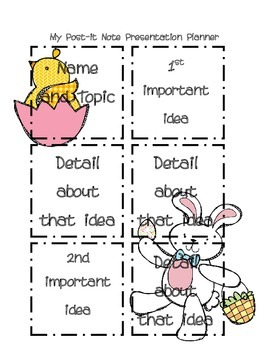 Post it Note Writing/Presentation Planner-Easter Edition