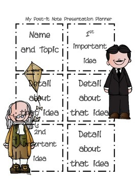 Post it Note Writing/Presentation Planner-Famous Inventors