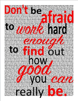 """Poster: """"Don't be afraid to work hard enough..."""