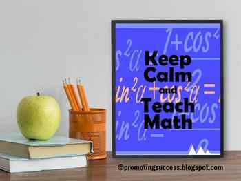 Math Teacher Appreciation Week Keep Calm and Teach Math Qu