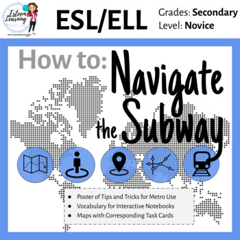 Poster, Map & Task Cards for the Metro / Subway - ESL/ELL
