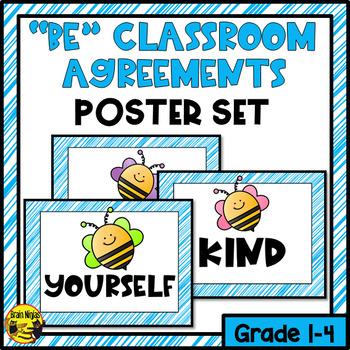 "Poster Set- ""Be"" Classroom Agreements- Editable"