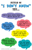 """Poster Set: What to say instead of """"I don't know"""" (growth"""