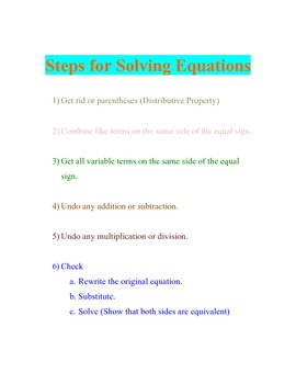 Poster: Steps for Solving Equations
