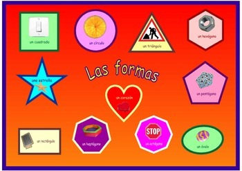 Poster   about the  Shapes in Spanish  . A3 size .