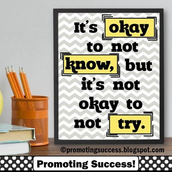 Inspirational Quote Poster ~ Okay to Not Know ~ Yellow Gra