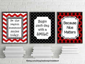 Red and Black Chevron & Polka Dot Classroom Posters with I